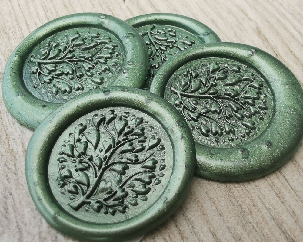 Lavender Wax Seal Stickers - moss green pearl