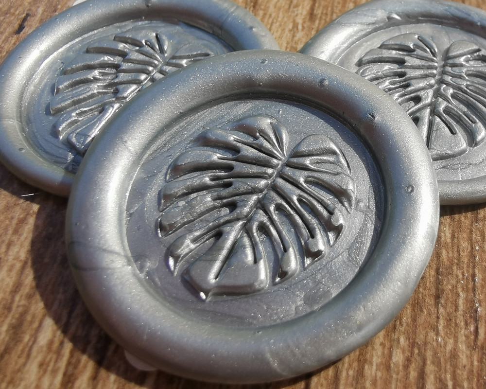 Monstera Peel and Stick Adhesive Wax Seal Sticker  Silver