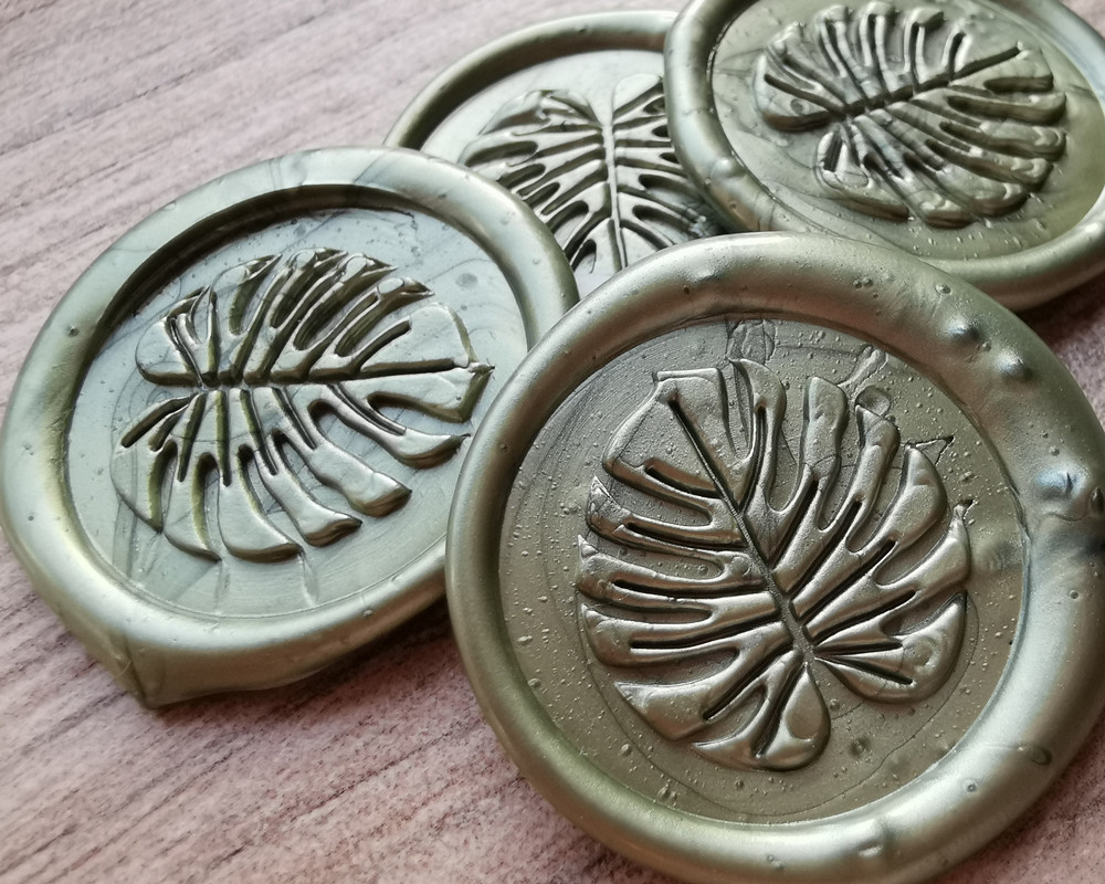 Monstera Peel and Stick Adhesive Wax Seal Sticker Olive Green