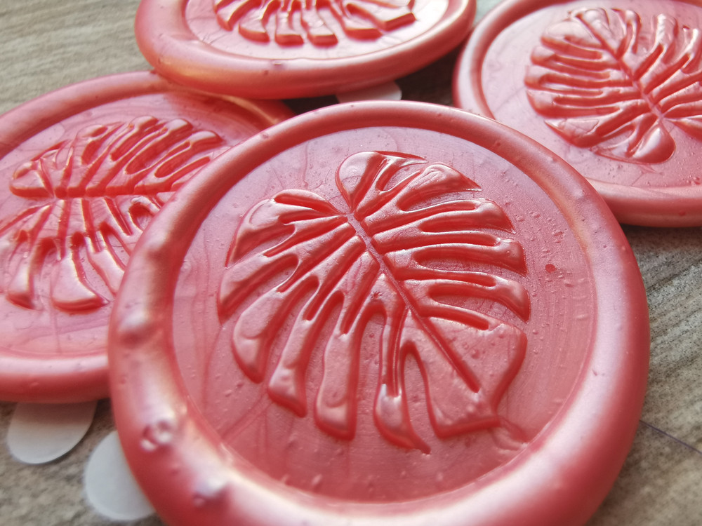 Monstera Peel and Stick Adhesive Wax Seal Sticker Living Coral