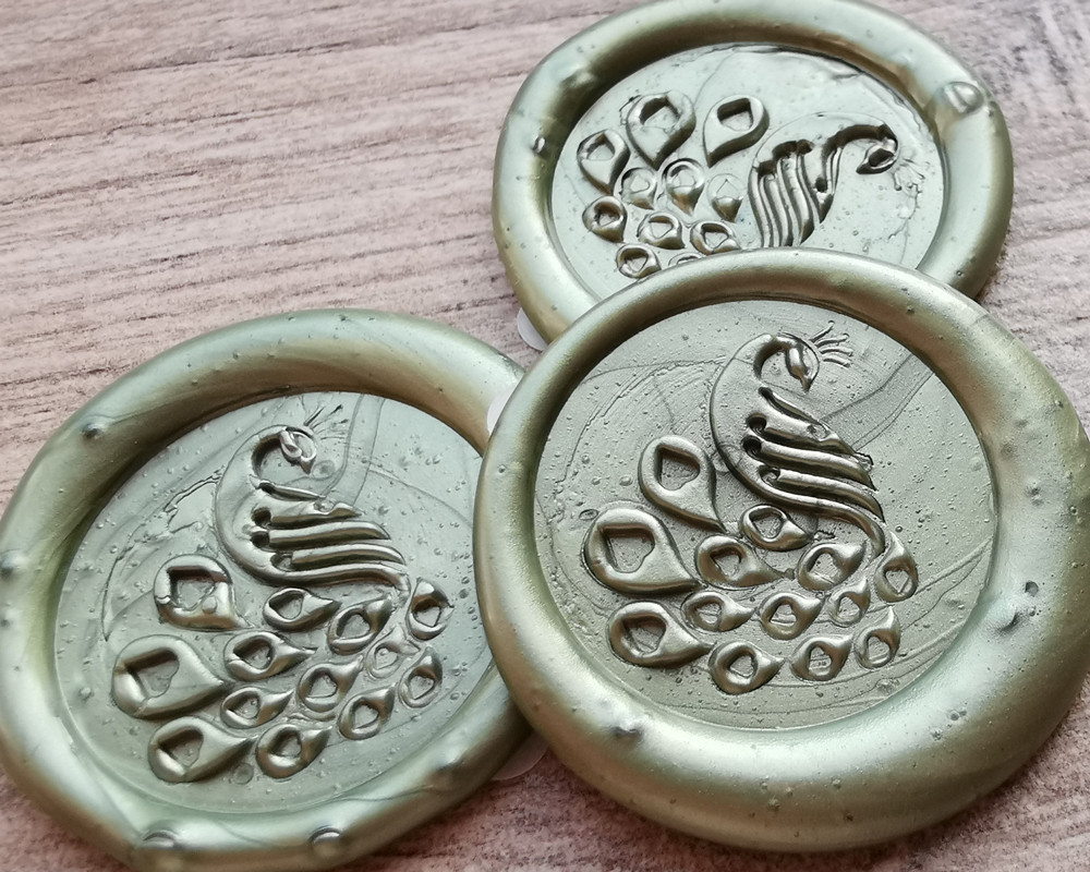 Peacock D1 Self Adhesive Stickers hand made with sealing wax Olive Green
