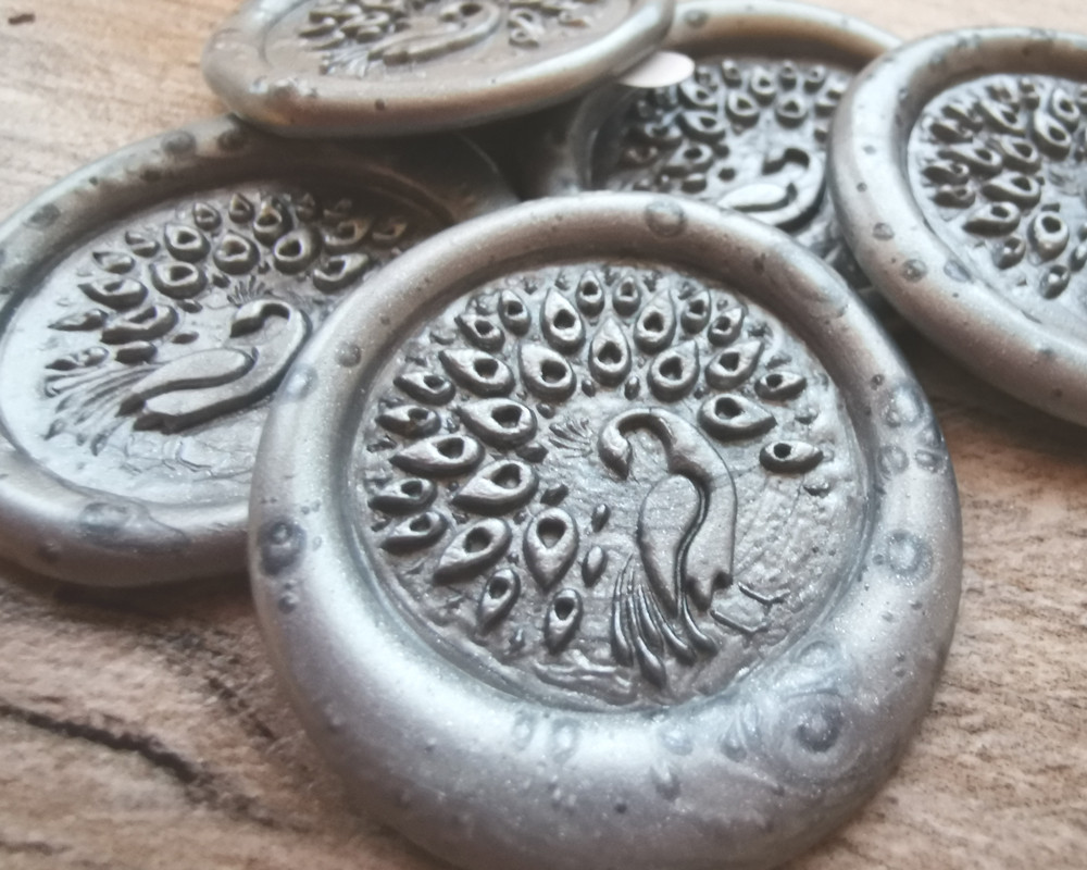 Peacock D2 Self Adhesive Wax Seal Stickers Silver