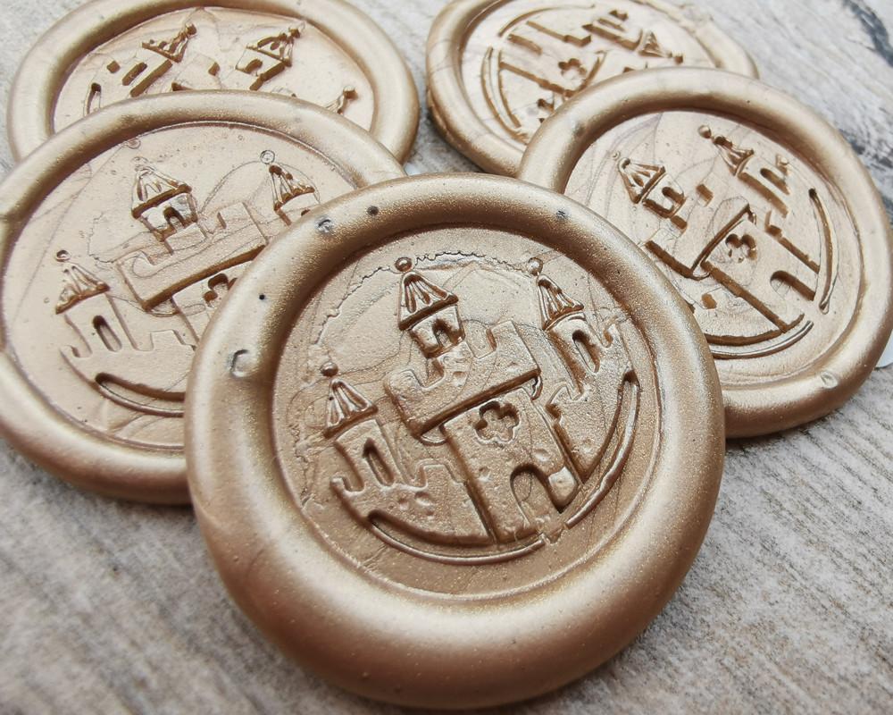 Princess Castle handmade wax seal stickers - Gold