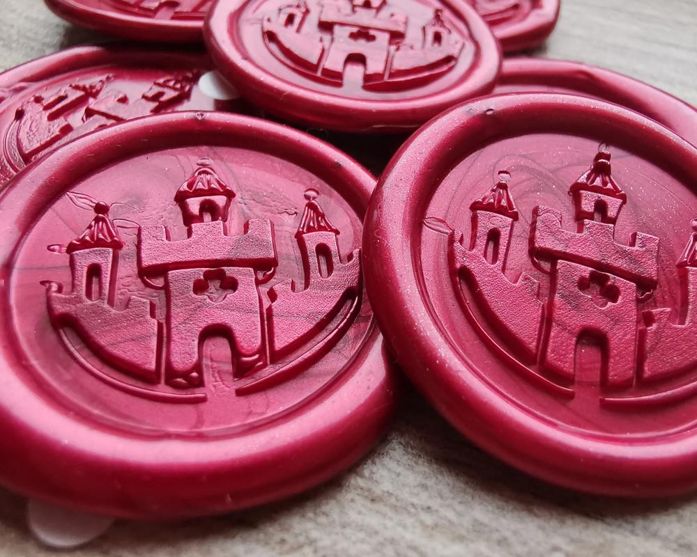 Princess Castle handmade envelope seals - Pearl Red
