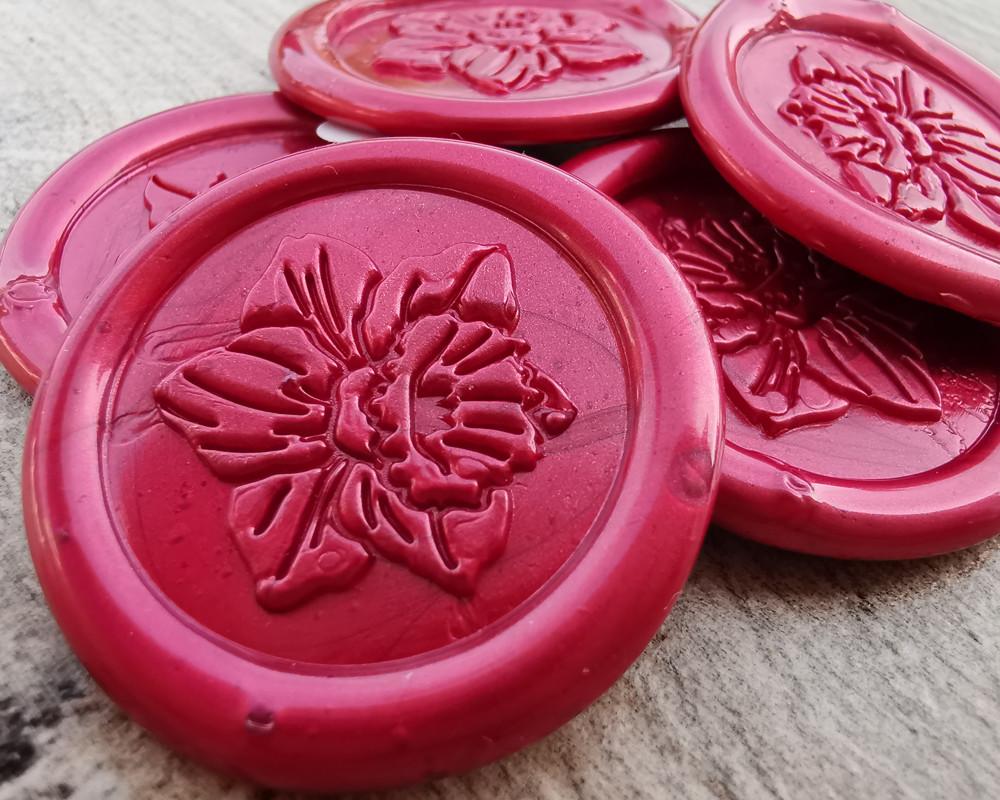 Daffodil Peel and Stick Self Adhesive wax seal stickers - pearl red