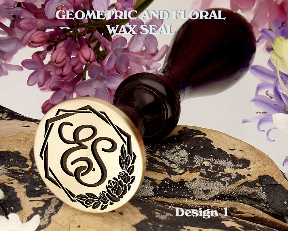 Geometric and Floral Monogram Wax Seal Stamp Design 1 Example ES