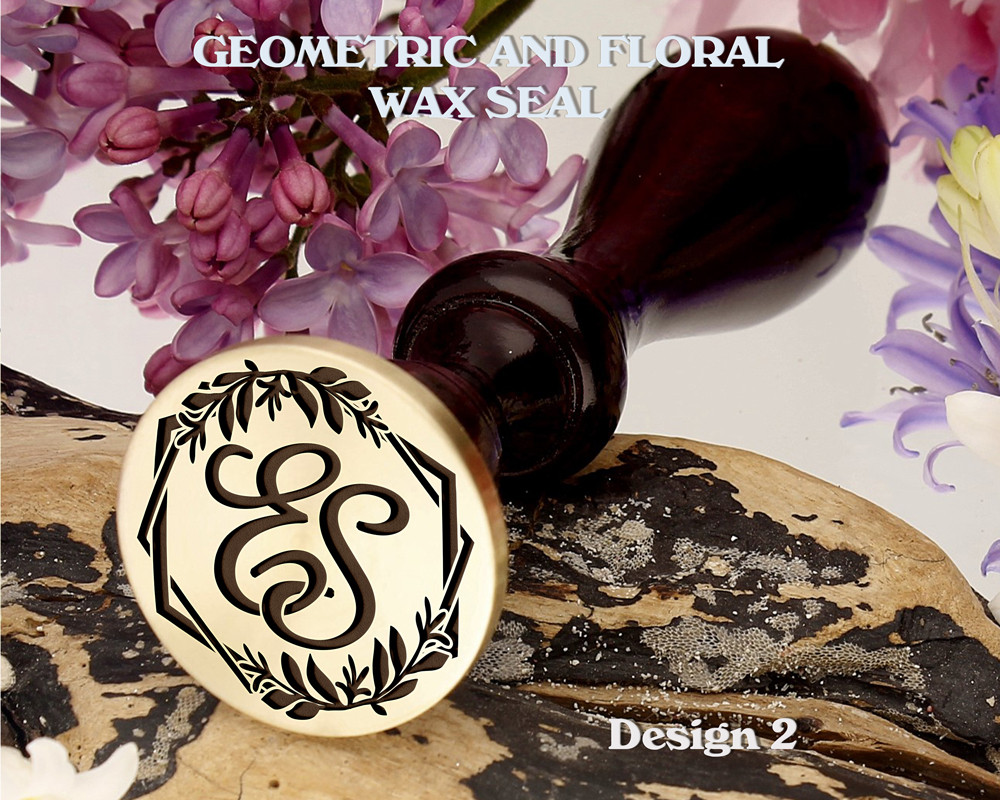 Geometric and Floral Monogram Wax Seal Stamp Design 2 Example ES