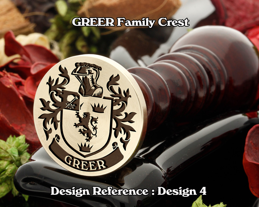 GREER Family Crest Wax Seal Stamp D4