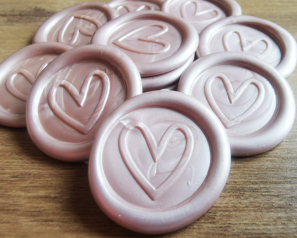 Contemporary Heart Peel and Stick wax seal sticker - Champagne Pearl