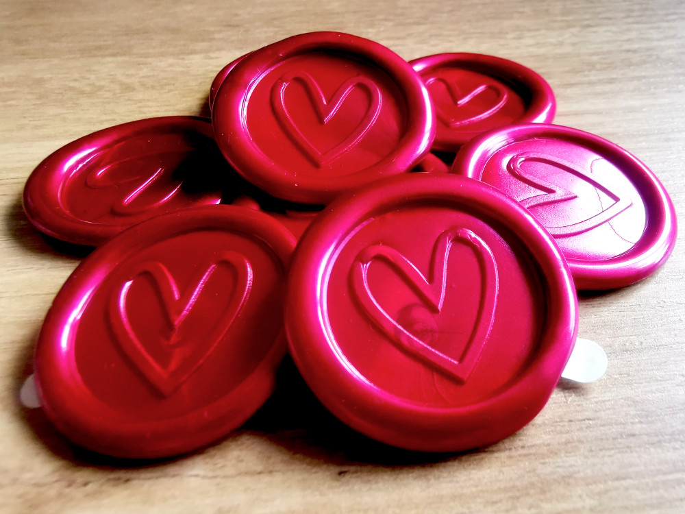Contemporary Heart Peel and Stick wax seal sticker - Ruby Red Pearl