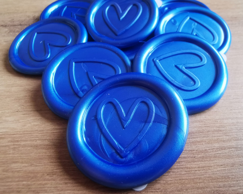 Contemporary Heart Peel and Stick wax seal sticker - Blue RAP Pearl