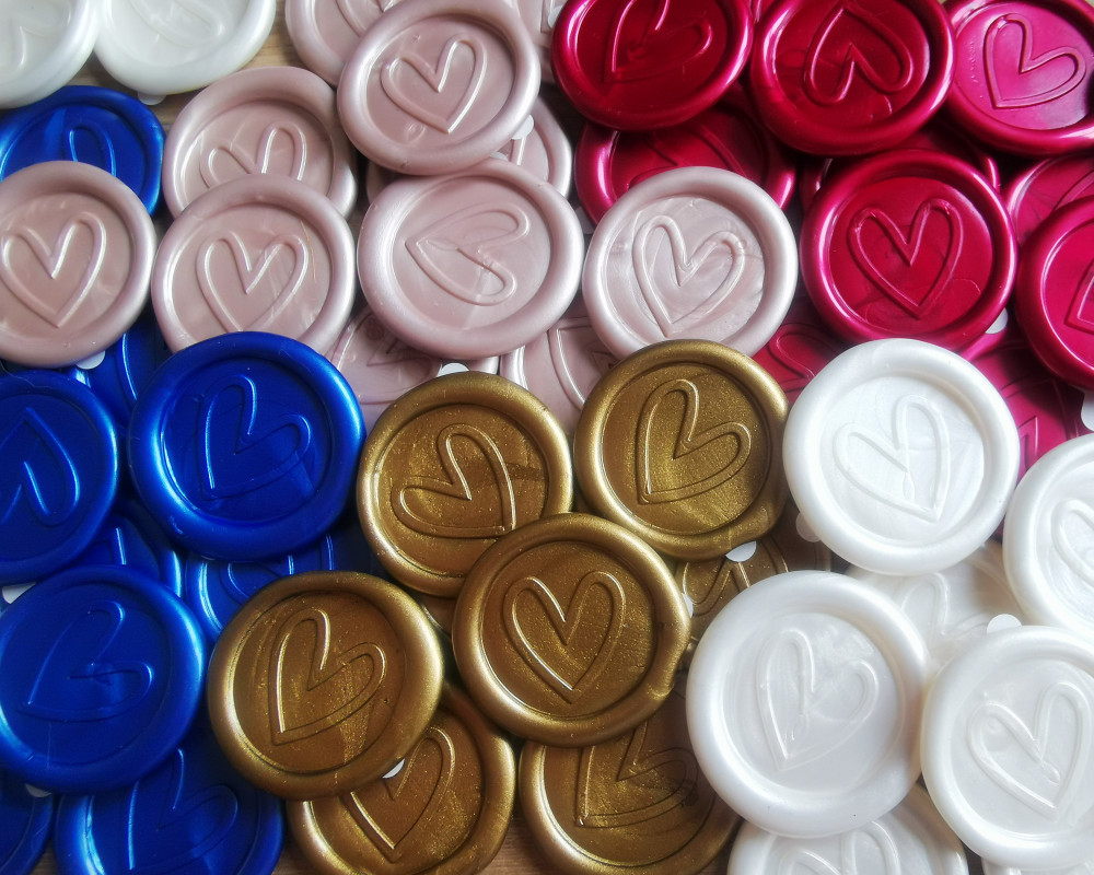 Contemporary Heart Peel and Stick wax seal sticker