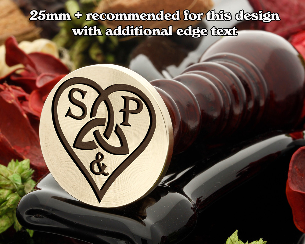 Trinity Heart D1 Wax Seal, add initials and edge text
