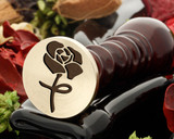 Rose 7 design wax seal, reversed for engraving