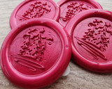 Three Christmas Tree Self Adhesive wax seal stickers - pearl red