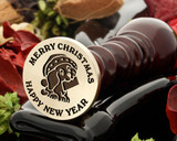 Christmas letter puppy wax seal, reversed for engraving