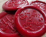 Happy Birthday Wax Seal Stickers Traditional Red