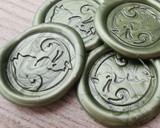 Cats Yin Yang Peel and Stick wax seal stickers - Olive Green