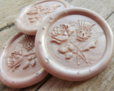 Rose and Thistle wax seal sticker, Champagne Pearl