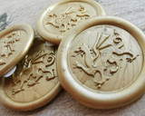 Welsh Dragon wax seal peal and stick stickers 9ct Gold