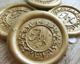 Bespoke Monogram Adhesive Sticker Wax Seals 9ct Gold