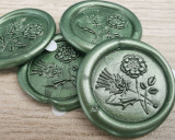 Thistle and Rose D4 Wax Seal Stickers - all colours -  Moss Green
