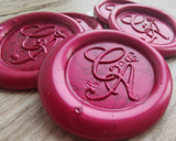 Bespoke Monogram Self Adhesive Wax Seal Stickers  Pearl Ruby Red