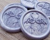 Flamingo self adhesive wax seal stickers - Pearl Cornflower Blue