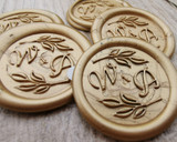 Monogram foliage design wax seal stickers