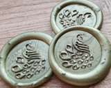 Peacock D1 Self Adhesive Wax Seal Stickers Pearl Olive Green