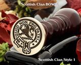 Bowie Scottish Clan Wax Seal, Cufflinks, Signet Rings D1