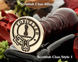 Scottish Clan Wax Seal Allison Style 1 design also suitable for cufflinks and signet rings.