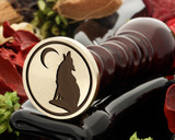 Howling wolf wax seal reversed for engraving