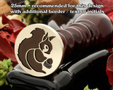Squirrel D2 wax seal - 25mm recommended with additional text