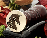 Unicorn wax seal, reversed for engraving