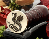 Wivern design wax seal, reversed for engraving