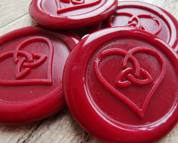 Trinity Heart Adhesive Wax Seal stickers - traditional red