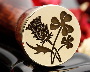 Thistle and Shamrock Wax Seal Stamp, thistle on left in sealing wax