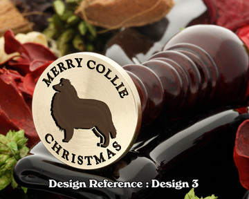 Rough Collie - Merry Collie Christmas Wax Seal D3