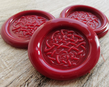 Celtic Peel and Stick Wax Seal Stickers - Traditional Red