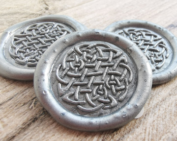 Celtic Peel and Stick Wax Seal Stickers - silver