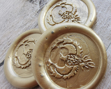 Phoenix Peel and Stick wax seal stickers 9ct Gold