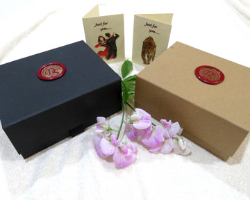 Gift Box, card and wax seal available in black or kraft natural