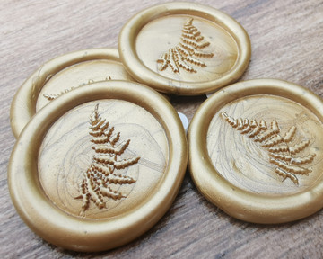 Delicate Fern Peel and Stick Self Adhesive Wax Seal Stickers 9ct Gold