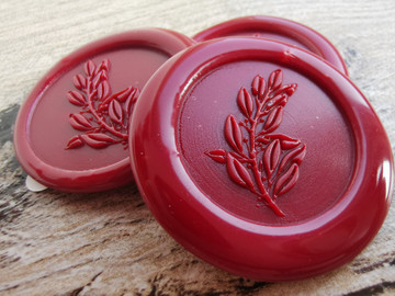 Laurel Leaf Peel and Stick wax seal stickers Traditional Red