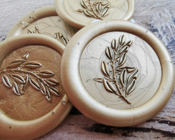 Laurel Leaf Peel and Stick wax seal stickers 9ct Gold