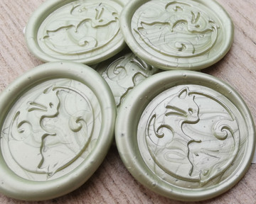 Cats Yin Yang Peel and Stick wax seal stickers -  Sage Green