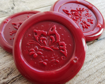 Butterfly Peel and Stick wax seal Stickers Traditional Red