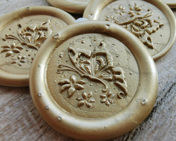Butterfly Peel and Stick wax seal Stickers 9ct Gold