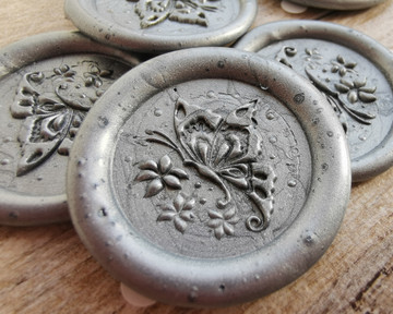 Butterfly Peel and Stick wax seal Stickers Silver